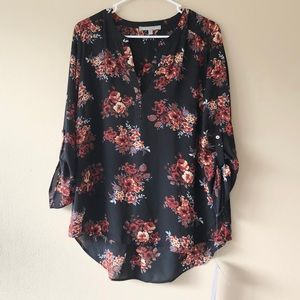 NWT Daniel Rainn Floral Long Sleeve Blouse Sz L